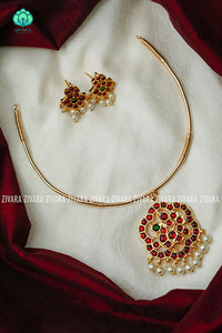 Kajal- Kemp pipe Neckwear with earrings - south indian customised fusion jewellery