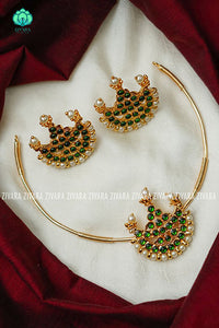 Kemp pipe Neckwear with earrings - south indian customised fusion jewellery