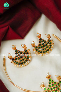 Kairavi- Kemp pipe Neckwear with earrings - south indian customised fusion jewellery