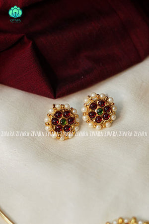 Kanchana- Kemp pipe Neckwear with earrings - south indian customised fusion jewellery