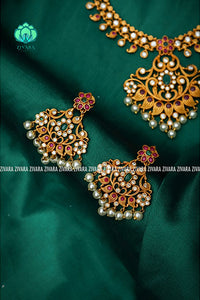 Short floral necklace with earrings -Premium quality CZ Matte collection-south indian jewellery