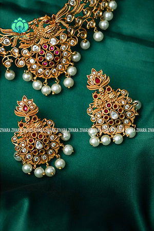 Cute festive ruby and white chokers CZ Matte gold look alike necklace -zivara fashion-south indian jewellery