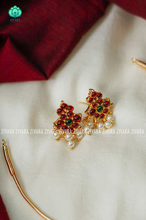 Kousalya -  Kemp pipe Neckwear with earrings - south indian customised fusion jewellery