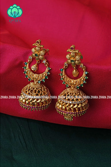Gold finish ruby and green jhumkas-south indian jewellery