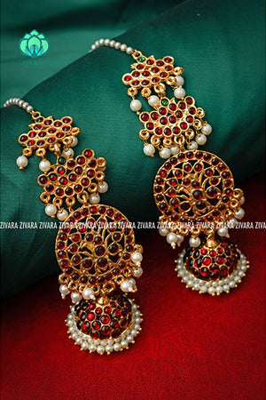 Padmini- kemp bridal jhumkas with maatal and pearl extension