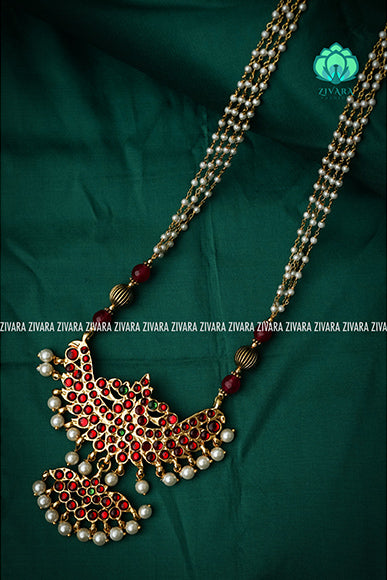 Kokilam-II - Traditional kemp midchest with pearl bunch chain-south indian kemp neckwear for women