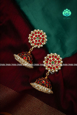 Big kemp jhumka - Kemp earrings -designer earrings