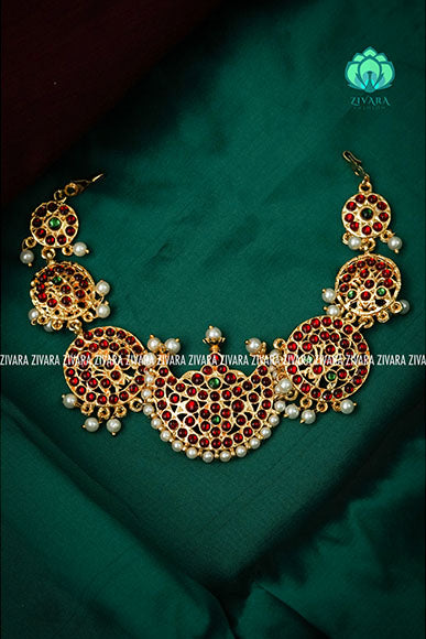 Chandra- Pocket friendly chockers - south indian kemp neckwear for women
