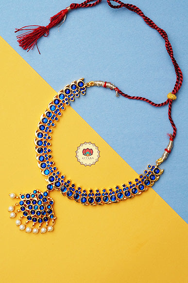 Anuja- kemp jewellery - Zivara fashion- south indian kemp neckwear for women- Blue