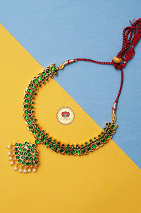 Anuja- kemp jewellery - Zivara fashion- south indian kemp neckwear for women- green