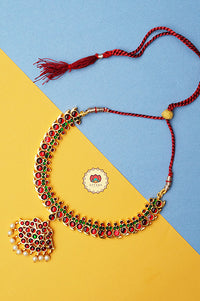 Anuja- kemp jewellery - Zivara fashion- south indian kemp neckwear for women- Red and green