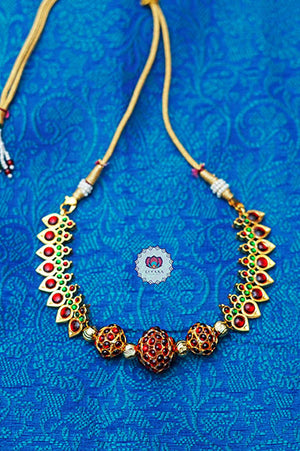 Sulabha - Traditional kemp chocker with rudram beads-south indian kemp neckwear for women