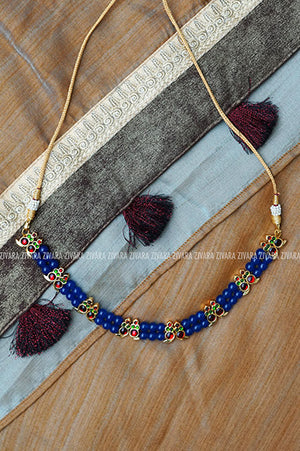 Aiswaryam - Traditional kemp choker with beads-south indian kemp neckwear for women