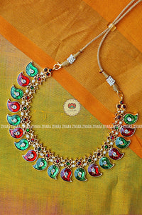 Kavitha - Traditional mango necklace green - south indian kemp jewellery