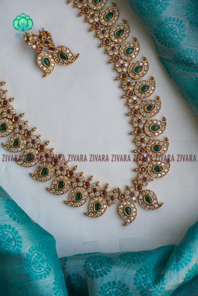 Ezhil - Traditional kemp neckwear -agades beads south indian kemp neckwear for women