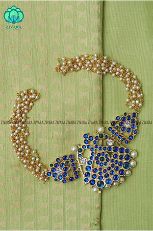 Aditi - pearl bunch choker with precious kemp dollar- traditional south indian neckwear - PREORDER