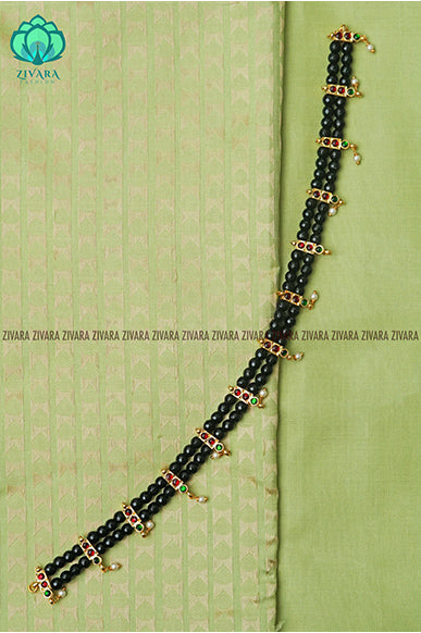 Alli  - Traditional kemp chocker with beads- south indian kemp neckwear for women