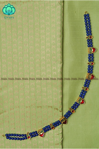 Anandhi  - Traditional kemp chocker with beads- south indian kemp neckwear for women