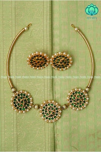 Suganthi  - Traditional three sun neckwear with earrings-south indian kemp neckwear for women