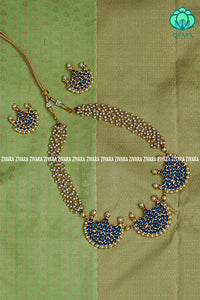 Vembu - Traditional three moon neckwear with pearl bunch - south indian kemp neckwear for women