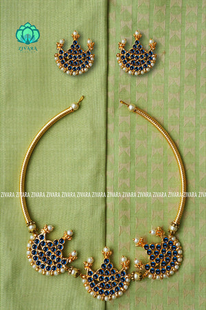 Sindhuja  - Traditional three moon  neckwear with earrings-south indian kemp neckwear for women