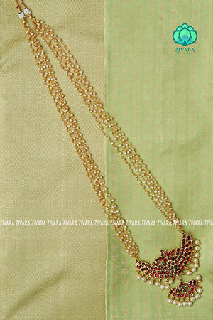 Kokilam - Traditional kemp midchest with pearl bunch chain-south indian kemp neckwear for women