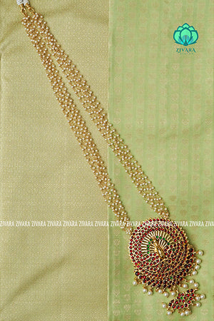 Krishya - Traditional kemp necklace with pearl bunch chains-south indian kemp neckwear for women