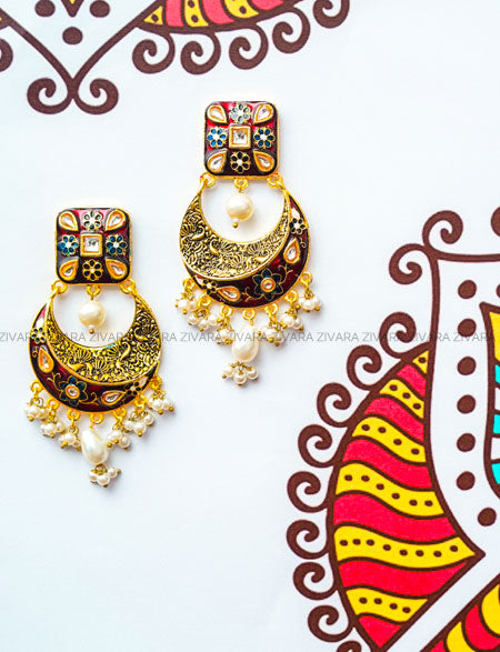 Meenakari balis with square studs- Red