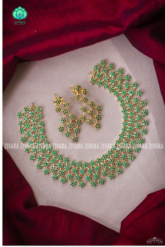 5 LINE AD star stoned Neckwear with earrings- Zivara Fashion- green