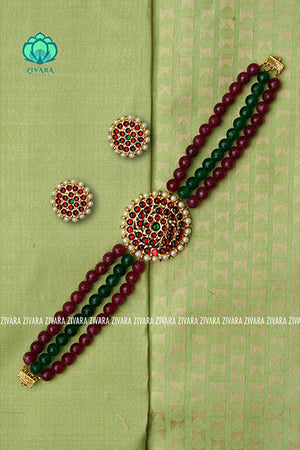 Vhaijaiyanthi- kemp choker with earrings -south indian kemp neckwear for women
