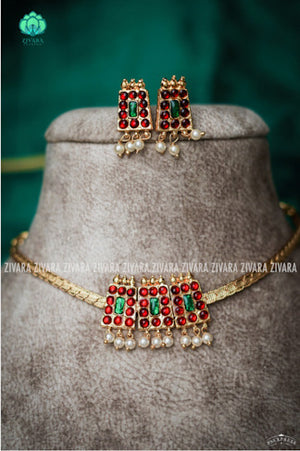 Skanda - kemp jewellery - Zivara fashion- south indian kemp neckwear for women