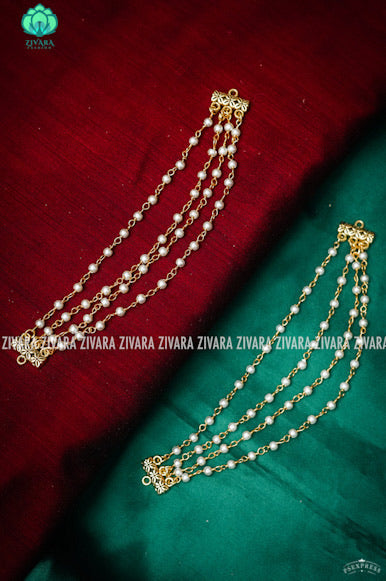 Triple layer pearl chain maatal - hair accessory for women-south indian jewellery