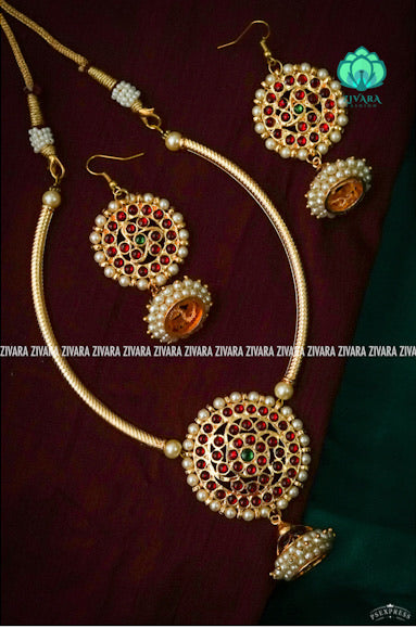Rithvi-2-Traditional kemp Jewellery -south indian kemp neckwear with earrings for women
