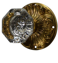 Romanesque Octagon Glass Door Knob