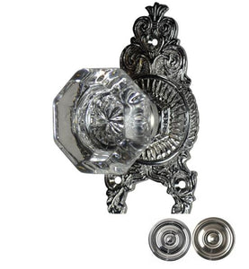 Crystal Octagon Ornate Victorian Door Knob Set