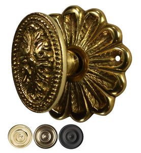 Flower Rosette Beaded Style Avalon Oval Door Knob Set