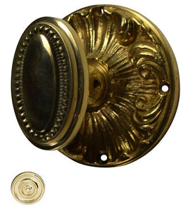 Solid Brass Beaded Oval Door Knob Set with Romanesque Rosettes
