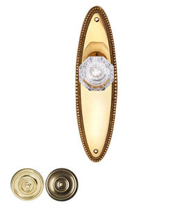 Providence Crystal Door Knob Set With Beaded Oval Backplate