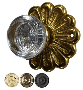 Flower Rosette Round Crystal Door Knob Set