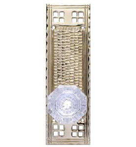 Craftsman Style Plate With Crystal Octagon Door Knob