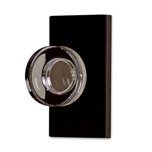 Round Crystal Disc Door Knob with Rectangular Plate (Several Finishes Available)