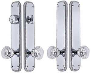 Georgian Roped Oval Double-Door Crystal Octagon Knob Deadbolt Entryway Set