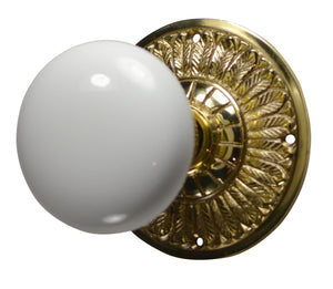 White Porcelain Door Knob with Brass Feathers Rosette