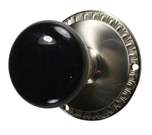Black Porcelain Door Knob With Egg & Dart Rosette