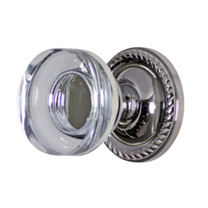 Crystal Clear Disc Door Knob Set with Georgian Roped Rosette (Several Finishes Available)