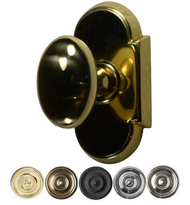 Solid Brass Egg Door Knob Set With Arched Rosette