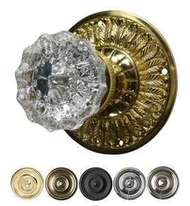 Crystal Fluted Door Knob with Feather Rosette