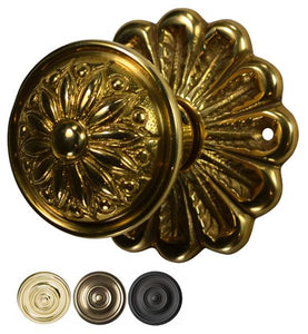 Flower Rosette Beaded Provincial Style Door Knob Set