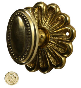 Flower Rosette Beaded Oval Door Knob Set