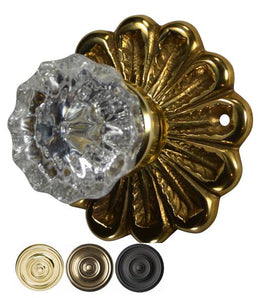 Flower Rosette Regency Crystal Fluted Door Knob Set